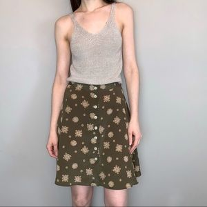 Vintage 90s button front flared skirt